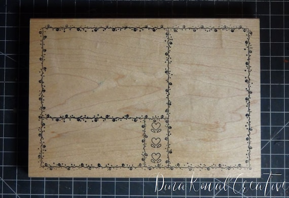Rubber Stamp - HUGE wood mounted collage or journaling frame