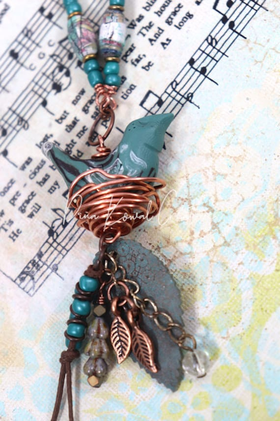Bird Nest Necklace - mixed metals, handmade paper and polymer clay beads