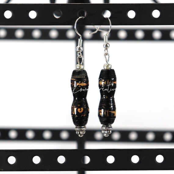 Paper Bead Earrings - Black Corset
