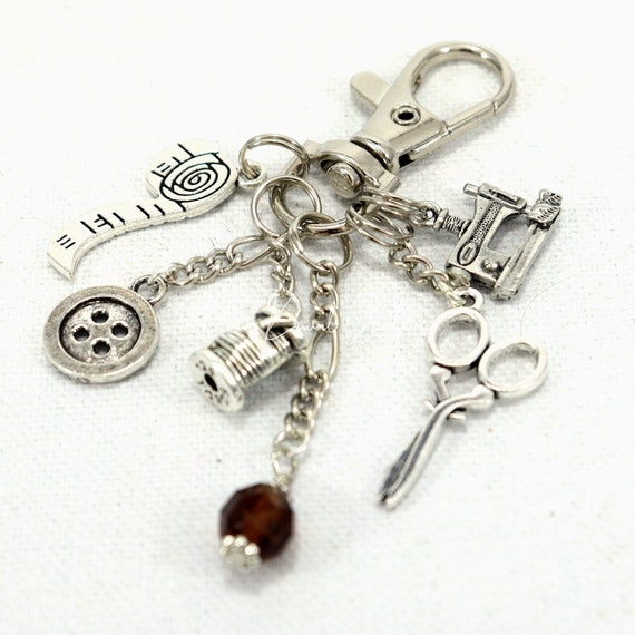 Purse Charm - Sewing Quilter Seamstress Zipper Pull Keychain