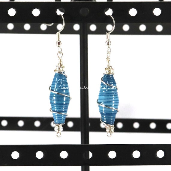 Paper Bead Earrings - Blue Wired Ombre
