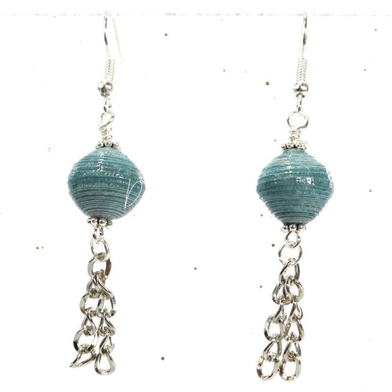 Paper Bead Earrings - Beach Blue Chain Dangle