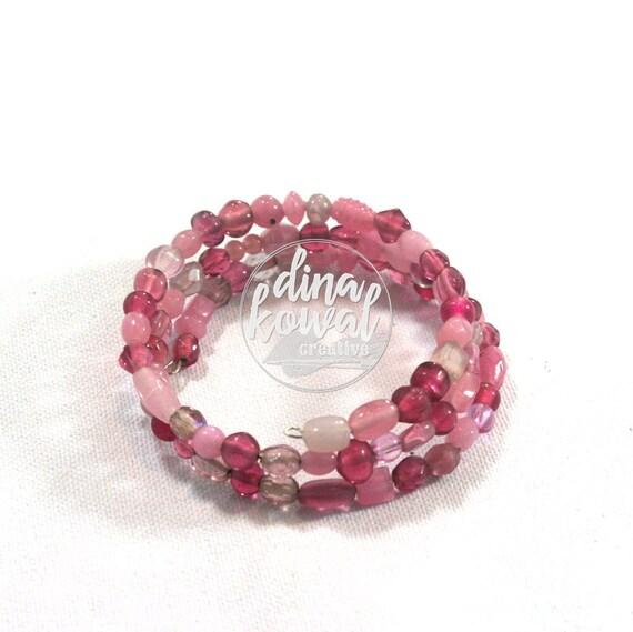 Glass Bead Wrap Bracelet - memory wire