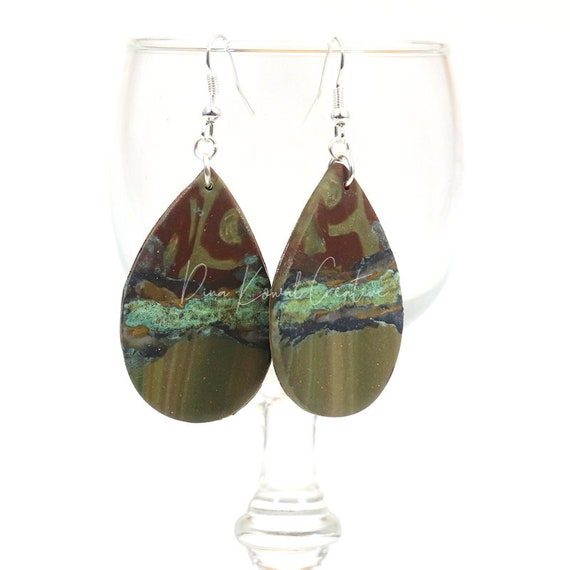 Polymer Clay Bead Earrings - Rustic Tear Drops