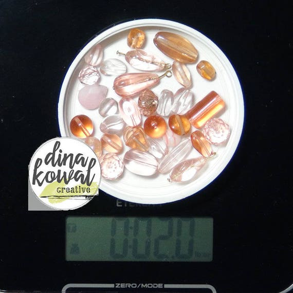 Destash - 2 oz. quality glass bead mix - peach