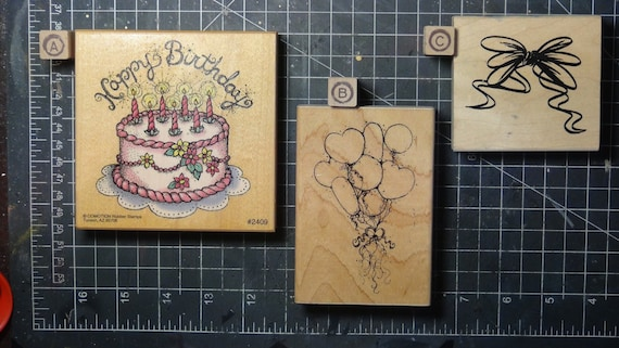 Rubber Stamps - YOU CHOOSE - wood mounted lot E1 - birthday theme