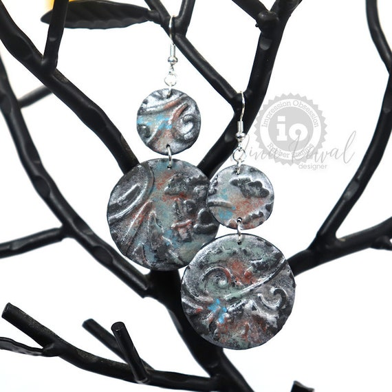 Polymer Clay Silver Patina Earrings