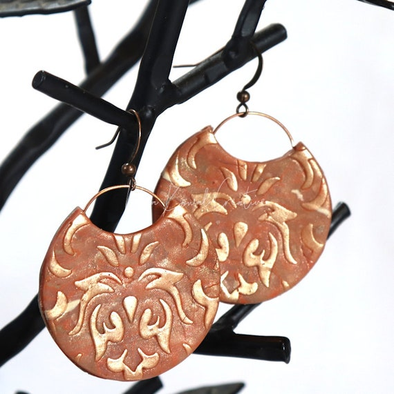 Polymer Clay Bead Earrings - Marble Damask
