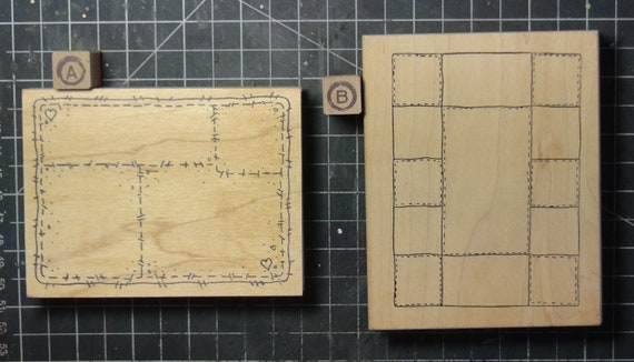Rubber Stamps - YOU CHOOSE - wood mounted lot H2 -quilt frame theme