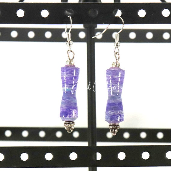 Paper Bead Earrings - Lavender Corset
