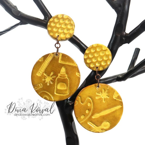 Polymer Clay Art Crafter Artist Charm Novelty Earrings