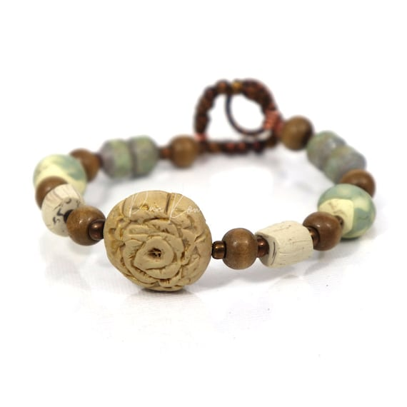 Rustic Rose bracelet -  handmade polymer clay and paper beads