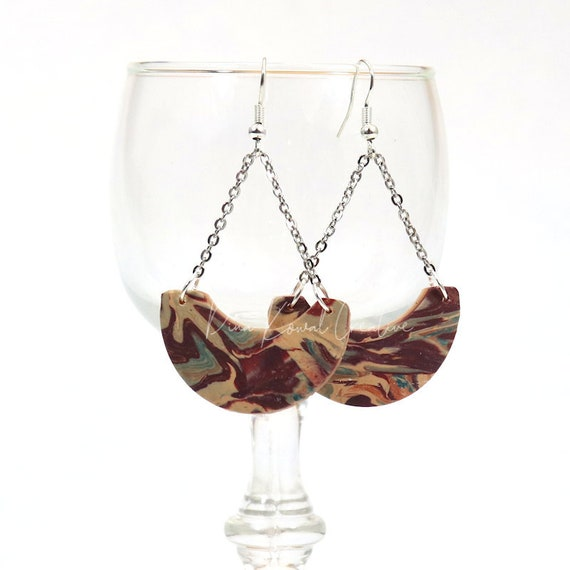 Polymer Clay Bead Earrings - Marbled Chandelier