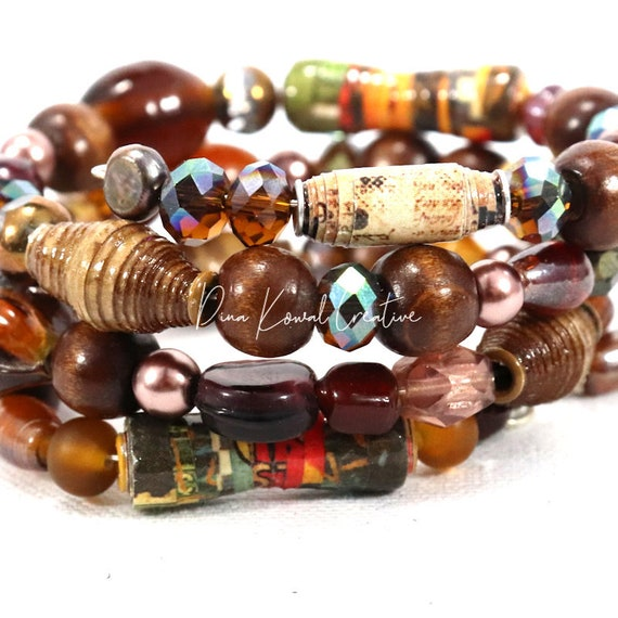 Memory Wire Wrap Bracelet - mixed glass and handmade paper beads