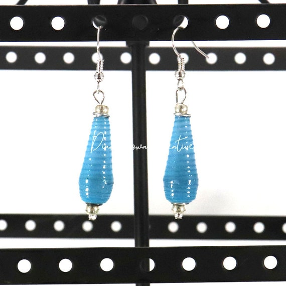Paper Bead Earrings - Blue Ombre Teardrop