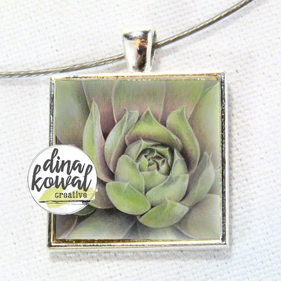 Succulent  - desert cactus floral domed glass tile pendant necklace