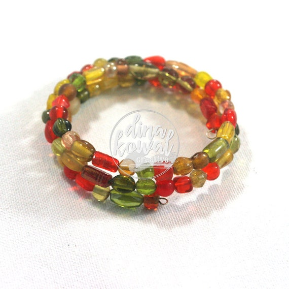 Glass Bead Wrap Bracelet - memory wire
