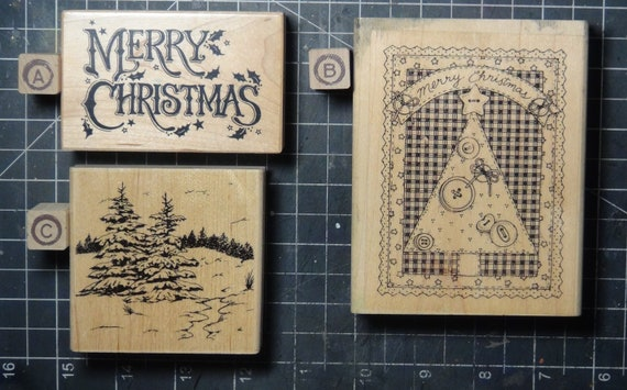 Rubber Stamps - YOU CHOOSE - wood mounted lot M2 - Christmas holiday theme