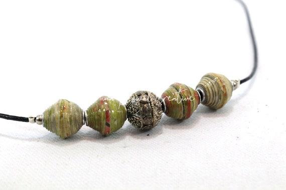 Adjustable leather choker - handmade paper beads