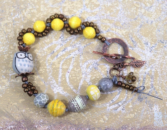 Windy Flight Owl Toggle Bracelets and kits - handmade beads and copper findings