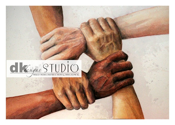 United  - watercolor art print - interracial - intercultural - unity - immigration