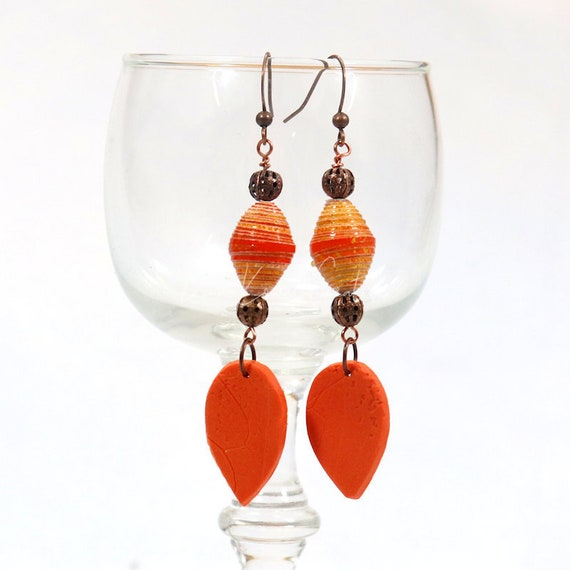 Polymer Clay and Paper Bead Earrings - Fall Drop Leaf