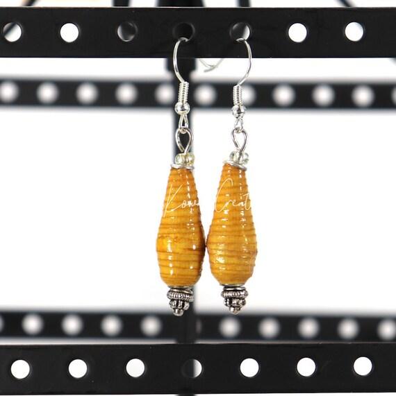 Paper Bead Earrings - Mustard Teardrop