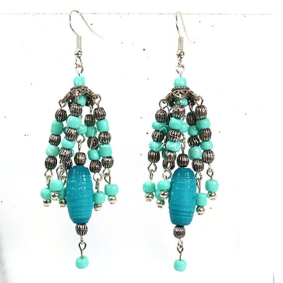 Paper Bead Earrings - Turquoise Chandelier