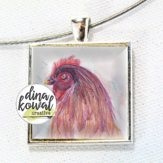 Rooster - domed glass tile pendant necklace