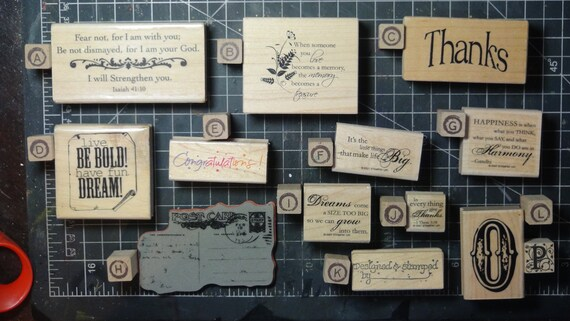 Rubber Stamps - YOU CHOOSE - wood mounted lot G2 - verses and sentiments theme