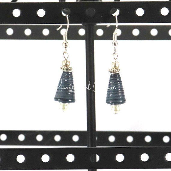 Paper Bead Earrings - Smoky Blue Mini Cone