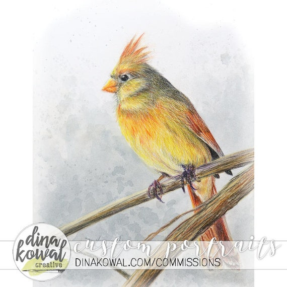 Cardinal - mixed media print - nature - sympathy - memory - loved one - winter - bird