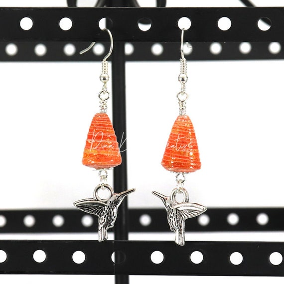 Paper Bead Earrings - Burnt Orange Cone with Silver Hummingbird Charm