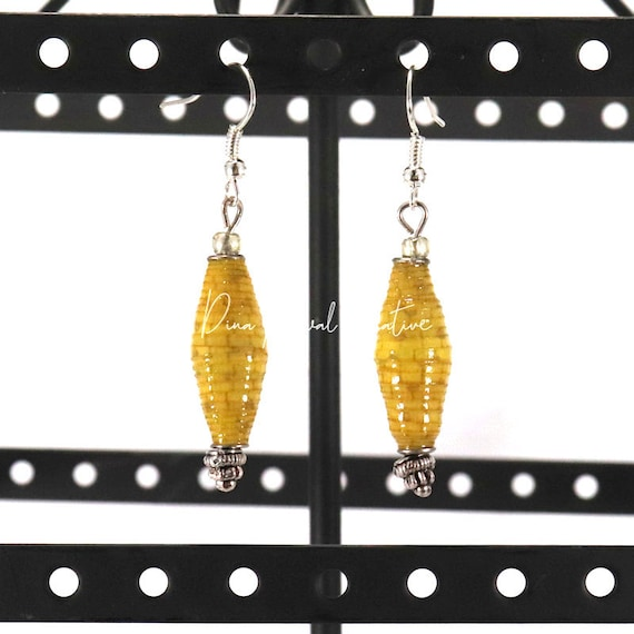 Paper Bead Earrings - Mustard Long Bicone