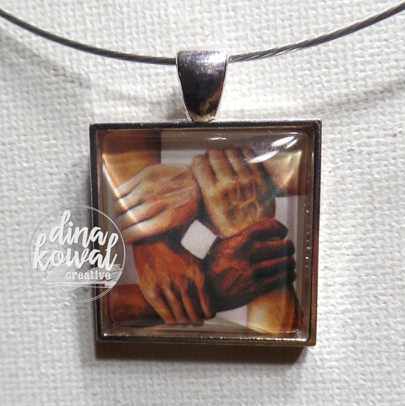 United - four hands - human race - domed glass tile pendant necklace or keyring
