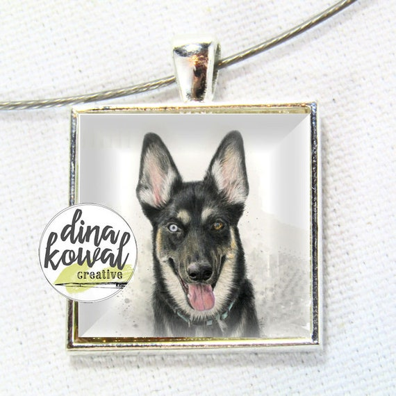 LAST ONE! German Shepherd Husky dog - domed glass tile pendant necklace