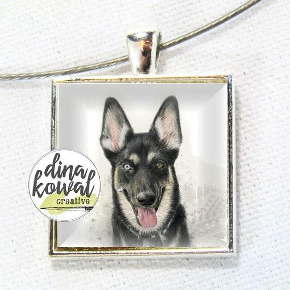 LAST ONE! German Shepherd Husky dog - domed glass tile pendant necklace