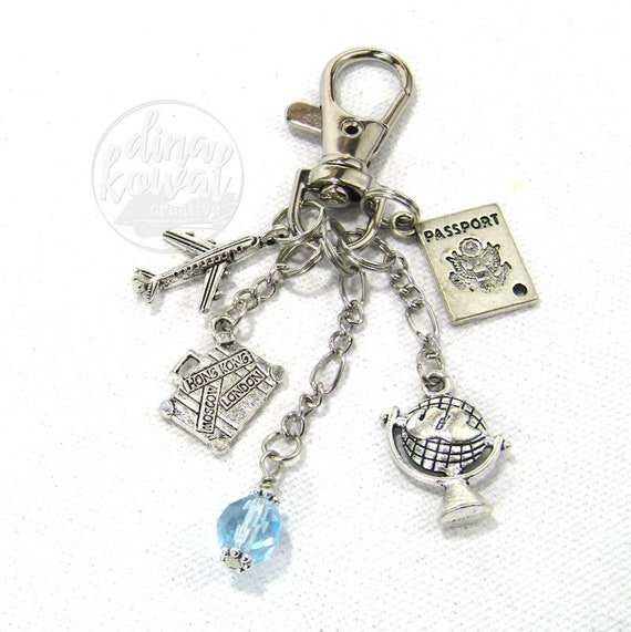 Travel Global Vacation Purse Charm Zipper Pull