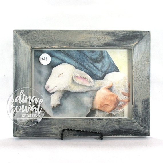 "Held - Shepherd and Lamb -  5""x 7"" - framed print"