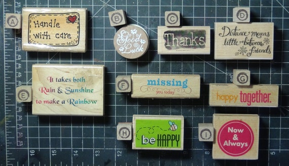 Rubber Stamps - YOU CHOOSE - wood mounted lot J2 - sentiment theme