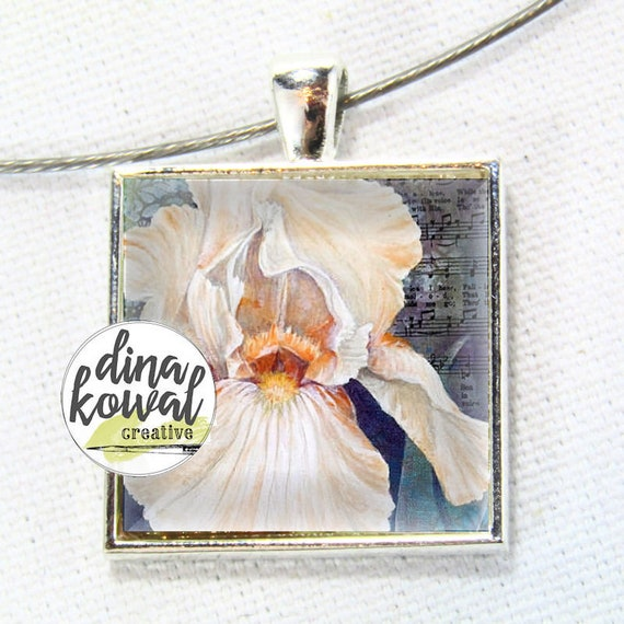 LAST ONE! Iris - peach - domed glass tile pendant necklace