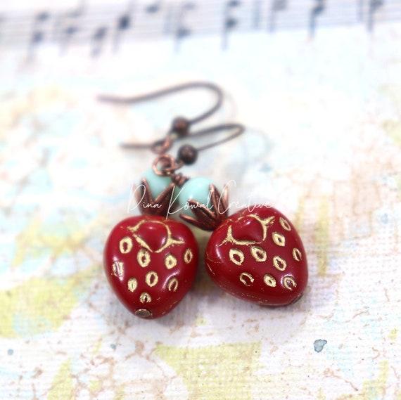 Czech Glass Bead Earrings - Strawberry Aqua Drop