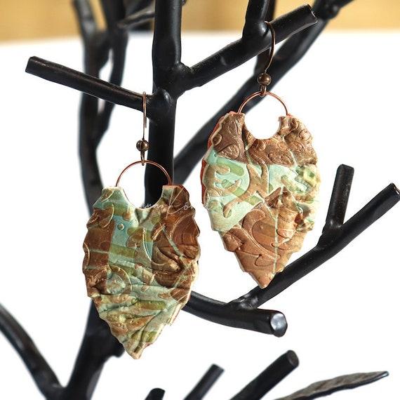 Polymer Clay Bead Earrings - Layered Stencil Leaf