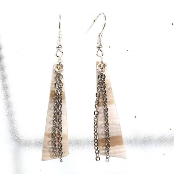 Polymer Clay Bead Earrings - Faux Driftwood Dangle