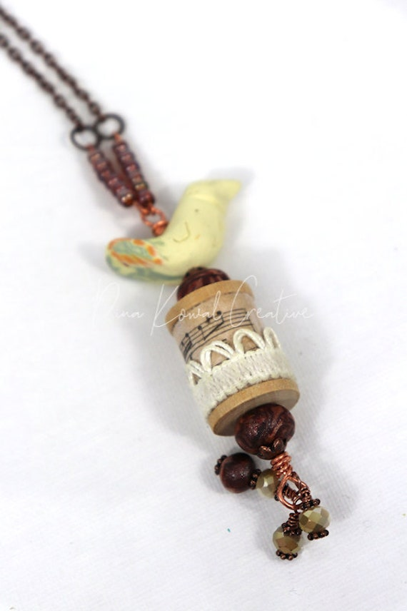Bird Spool  Necklace - mixed media, handmade paper and polymer clay beads