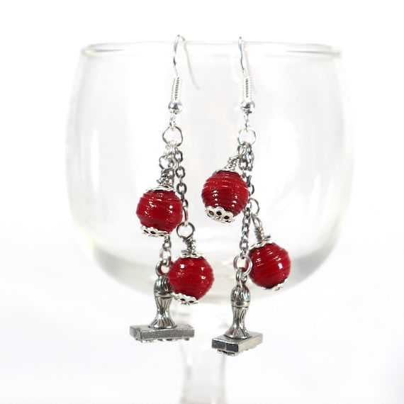 Paper Bead Earrings - Red Round and Rubber Stamp Charm Dangle