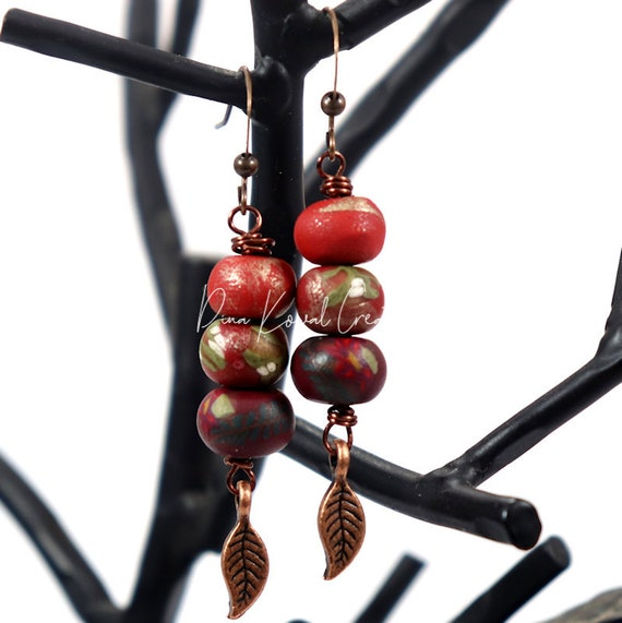 Polymer Clay Bead Earrings - Red Copper Drop