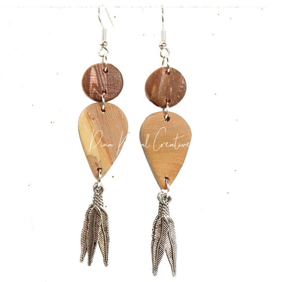Polymer Clay Bead Earrings - Faux Wood Feather Dangle