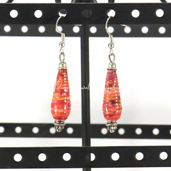 Paper Bead Earrings - Hyacinth Teardrop