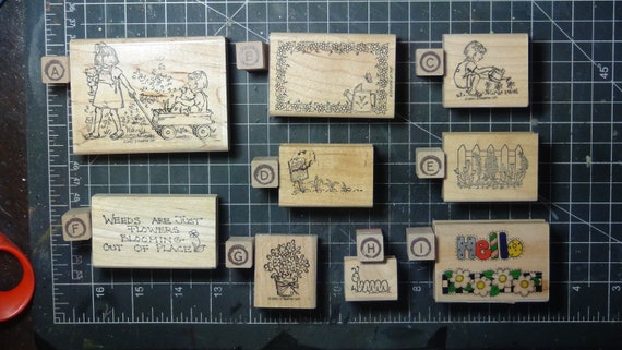 Rubber Stamps - YOU CHOOSE - wood mounted lot G1 - garden girls theme